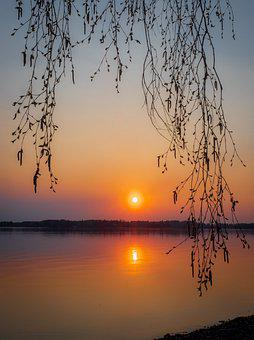 Sunset, Lake, Landscape, Water, Spring, In The Evening