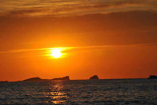 Sunset, Ibiza, Sea, Balearic Islands, Nature, Vacations