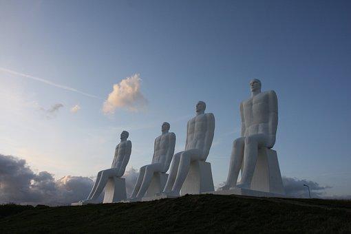 Denmark, Esbjerg, The Man On The Sea, Sculpture, White
