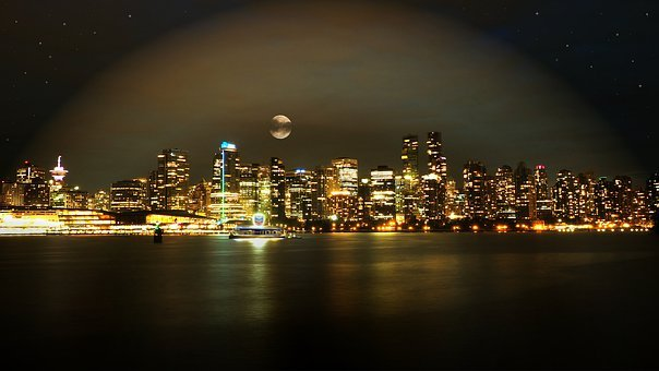 Vancouver, Skyline, Night, Full Moon, Lights, Star