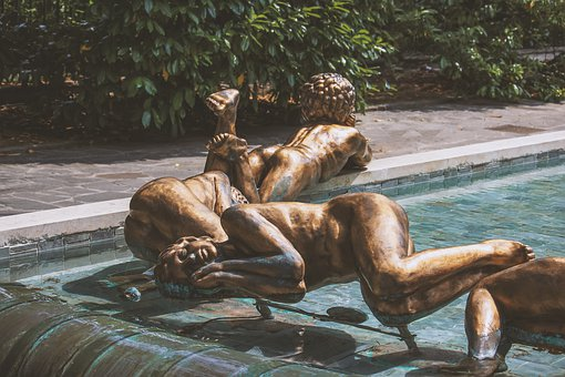 Sculpture, Woman, Lying, Figure, Bronze, Artwork, Water