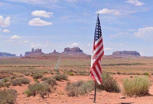 Flag, America, Monument, Rock, Arizona, Patriotic