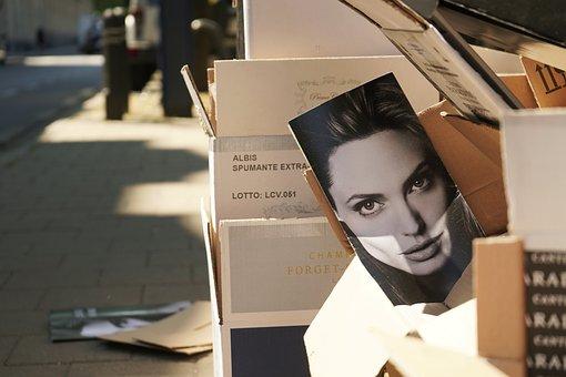 Angelina Jolie, Sidewalk, Cardboard, Discarded