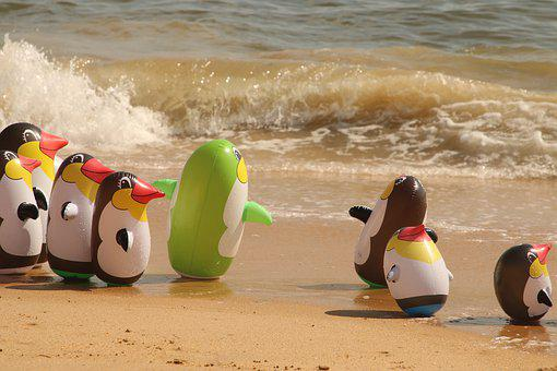 Mar, Play, Toy, Child, Penguin, Inflatable, Summer