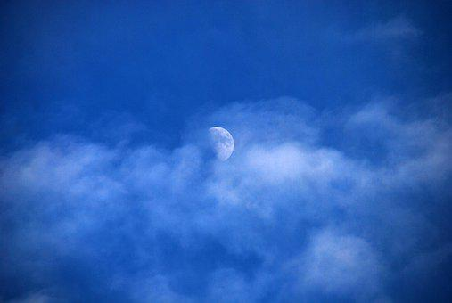 Moon, Sky, Blue, Clouds, Nature, Atmosphere, Horizon