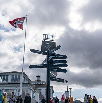 Bergen, Norway Flag, Sign, Floyen, Travel, Countries