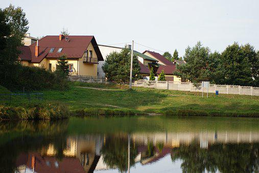 House, Lake, Landscape, Water, Figure, Tree, View