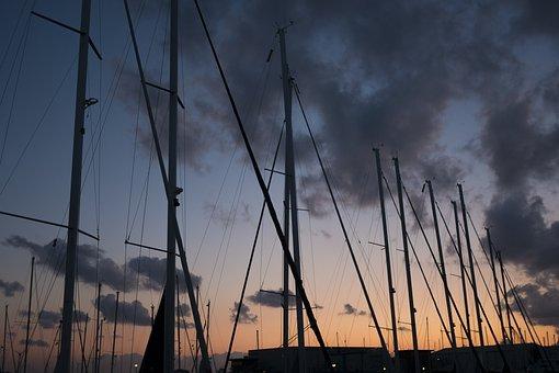 Sunset, Evening, Sail, Sailing Boat, Orange, Blue