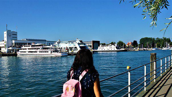 Woman, Backpack, Port, Friedrichshafen, Lake Constance