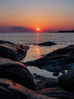 Sea, Sunset, Rock, Reflection, Water, Beach