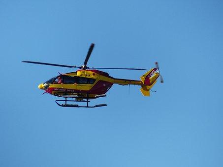 Helicopter, Firefighter, Fire, Flight, Sky, Service