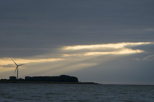 Clouds, Sky, Sunset, Godray, Water, Sea, Atmosphere