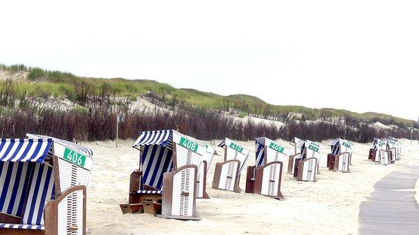 Dunes, Beach Chair, Sea, North Sea, Coast