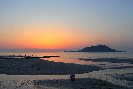 Sunset, Sea, Glow, Beach, Landscape