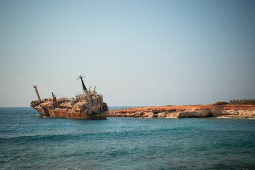 Cyprus, Wreck, Sea, Abandoned, Rusty, Boat, Ship, Peja