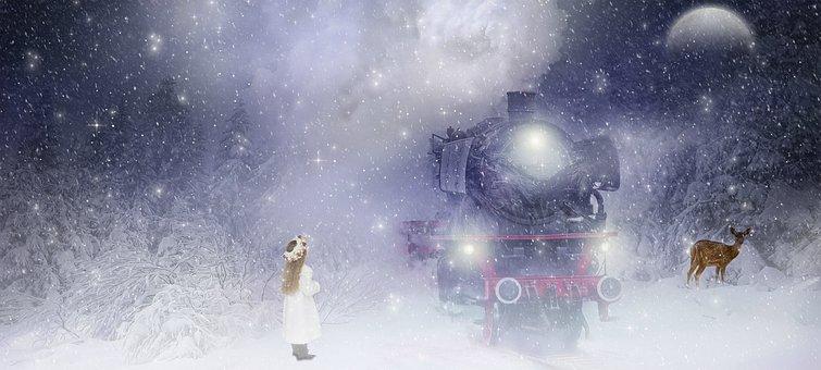 Fantasy, Winter, Girl, Train, Forest, Landscape, Cold