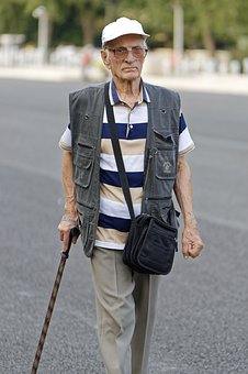 Old, Man, The Person, Going, Cane, Glasses, Cap, Alley