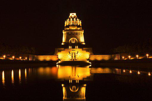 The Battle Of The Nations Monument At Night, Leipzig