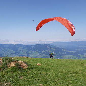 Paragliding, Sky, Mountains, Activity