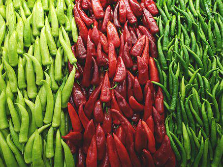 Pepper, Red, Green, Pain, Sunday, Market, Vegetarian