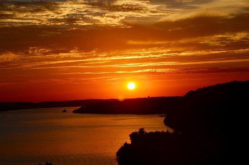 Sunset, Water, Sun, Peaceful, Orange, Relax, Zen