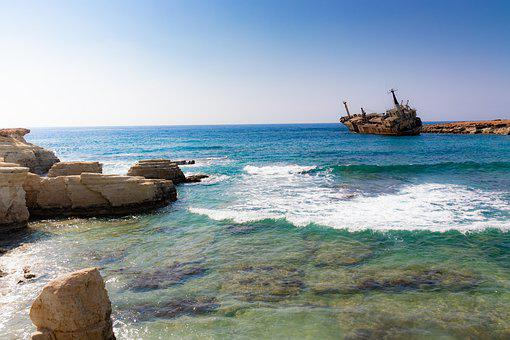 Edro, Wreck, Paphos, Sea, Ship, Cyprus, The Coast