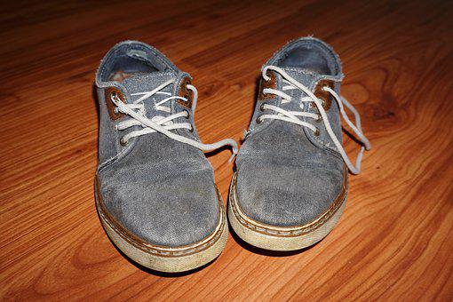 Shoes, Old, Fabric, Jeans, Material, Decoration, Blue