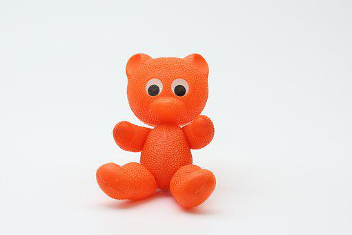 Teddy Bear, Toys, Ddr, Plastic, Hard Plastic, Orange