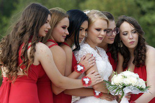 Girls, Women, People, Young, Bride, The Maid Of Honor