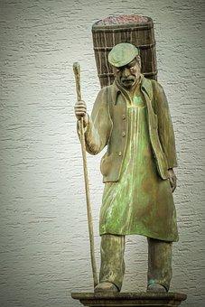 Sculpture, Bronze, Man, Workers, Basket Carrier, Butte