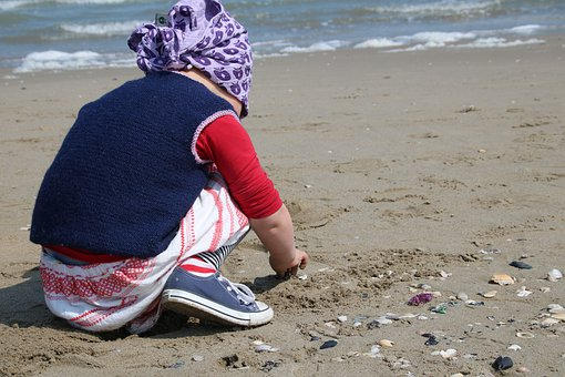 Child, Beach, Mussels, Sand, Search, Sea, Collect