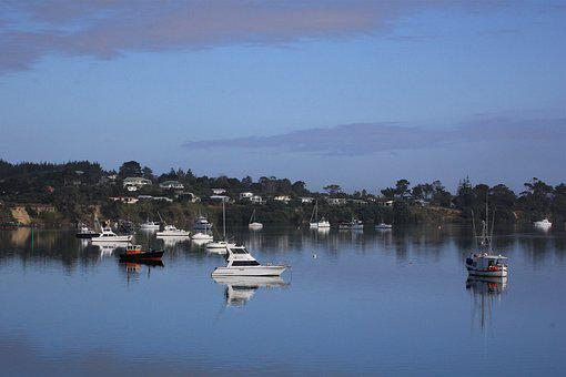 Boat, Reflection, New, Zealand, Northland, Ocean