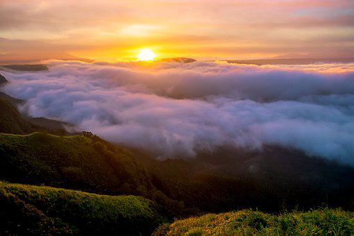 Asahi, Cloud, Sea Of Clouds, Japan, Aso, Natural, Sun