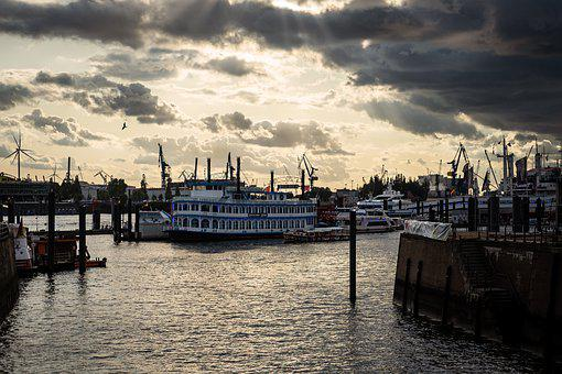 Hamburg, Sea, Ship, Elbe, Port, Water, Clouds, Germany
