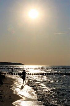 Girl - On - Beach, Baltic Sea, Summer, Sea, Sunset