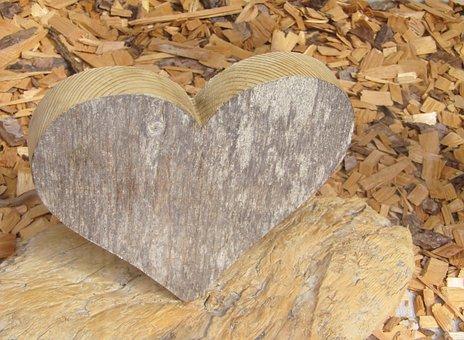 Heart, Wood Work, Wood, Holzspähne, Grain, Bark, Love