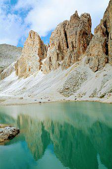 Dolomites, Lake, Mirror, Sky, Clouds, Mountains, Nature