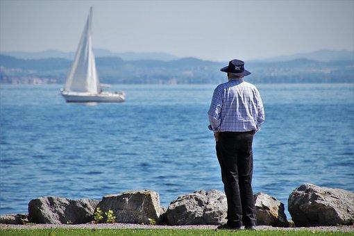 Senior, Sail, Lake, Sailboat
