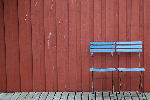 Wall, Wooden Wall, Red, Boards, Chairs, Light Blue