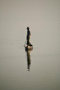 Asia, Myanmar, Burma, Man, Fisher, Mandalay