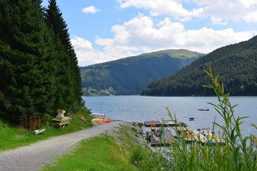 Lake, Valley, Sky, Mountains, Nature, Clouds, Bergsee