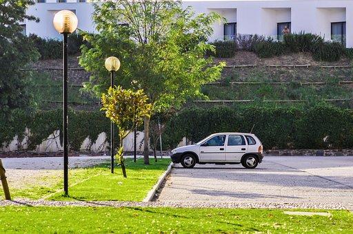 Car, Green, Grass, Park, Lights, Lamp Posts, White