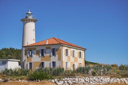 Lighthouse, Sun, Sky, Sea, Landscape, Partly Cloudy