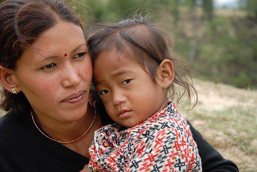 Nepal, Woman, Kathmandu, Child, Portrait, Women