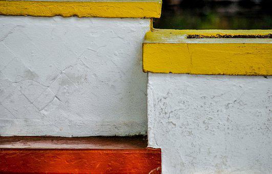 Yellow, White, Red, Structure, Seat, Block, Bench, Sit
