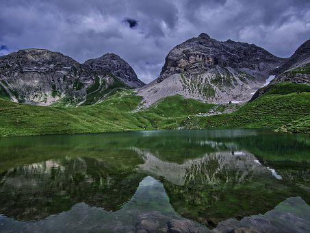 Reflection, Mountains, Rappensee, Nature, Blue