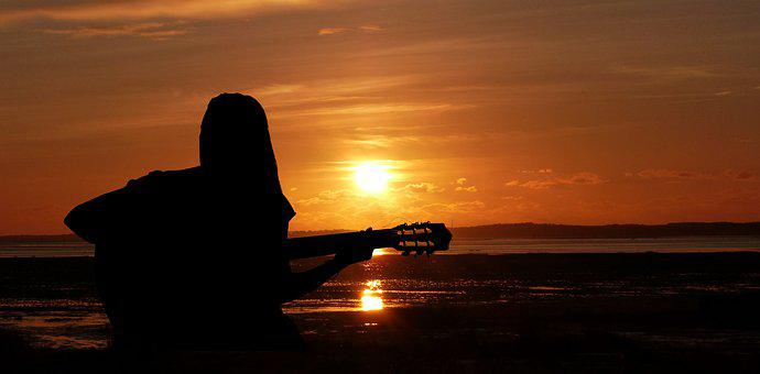 Sunset, Woman, Singer, Guitar, Music, Silhouette