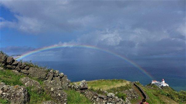 Azores, Santa Maria, Sky, Rainbow, Lighthouse, Açores