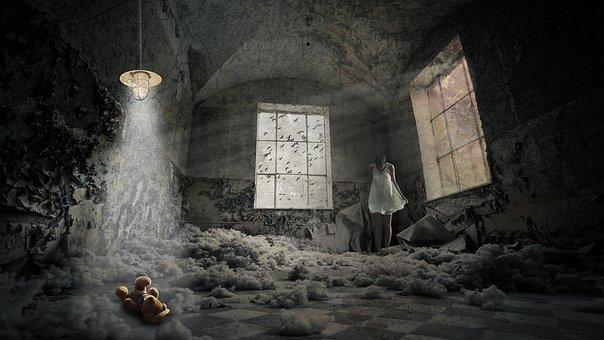 Hospital, Girl, Woman, Sadness, Teddy Bear, Birds