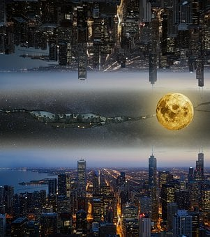 Science Fiction, Fantasy, Composite, Upside Down Worlds